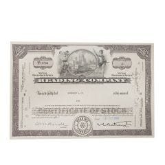 Reading Railroad Company Certificate of Stock
