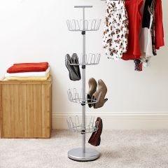 4-Tier Revolving Shoe Rack (silver)